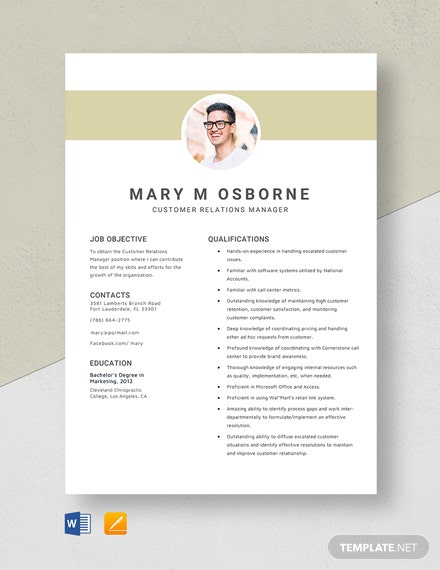 Customer Relations Manager Resume Template