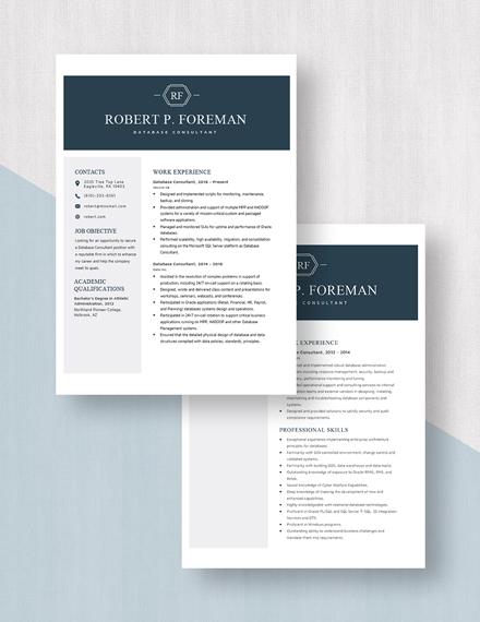 Database Consultant Resume Download