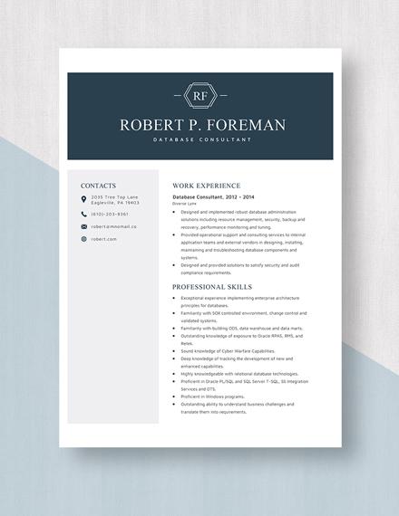 Database Consultant Resume Template