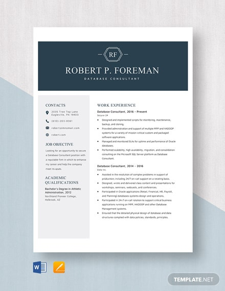 Database Consultant Resume Template