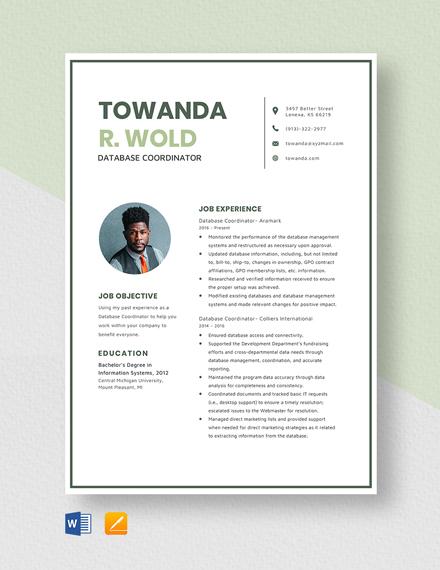 Database Coordinator Resume Template