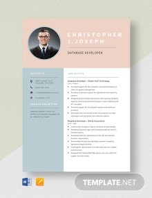 Database Developer Resume Template