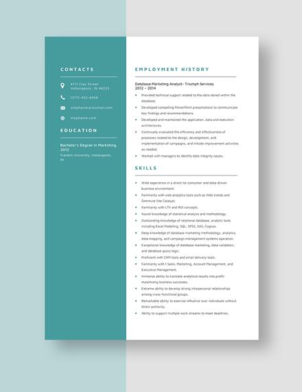 Database Marketing Analyst Resume Template