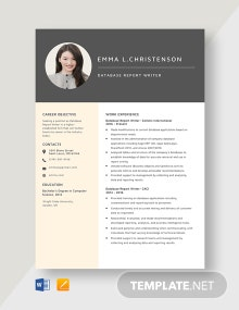 Database Report Writer Resume Template