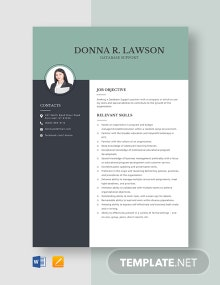 Database Support Resume Template