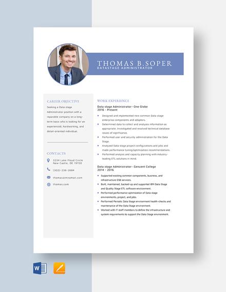 Datastage Administrator Resume Template