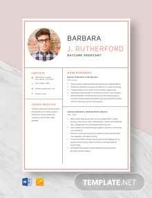 Day Care Assistant Resume Template