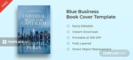 free blue business book cover template