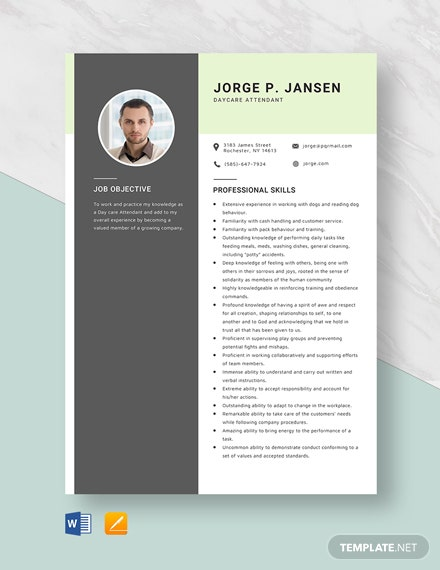 Day Care Attendant Resume Template