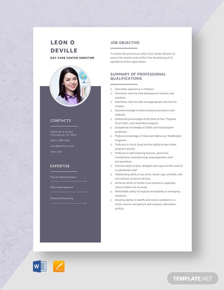 Day Care Center Director Resume Template