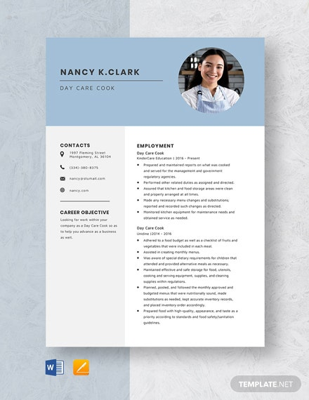 Day Care Cook Resume