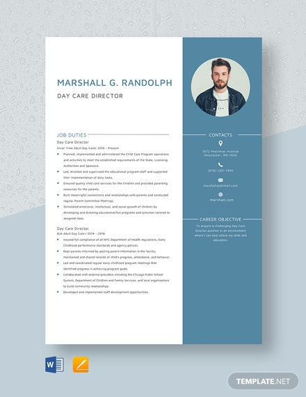 Day Care Director Resume Template