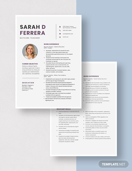 Day Care Teacher Resume Download