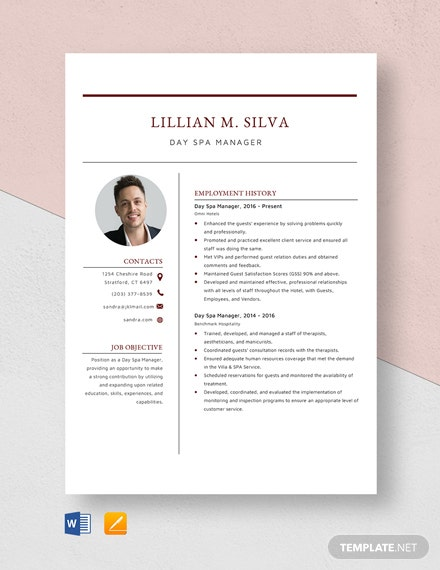 Day Spa Manager Resume Template