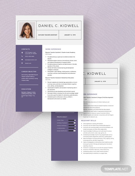 Daycare Teacher Assistant Resume Download