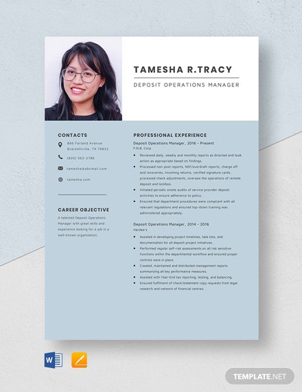 Deposit Operations Manager Resume Template
