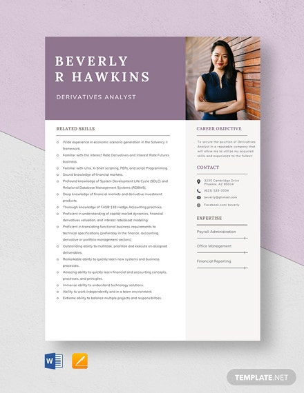 Derivatives Analyst Resume Template
