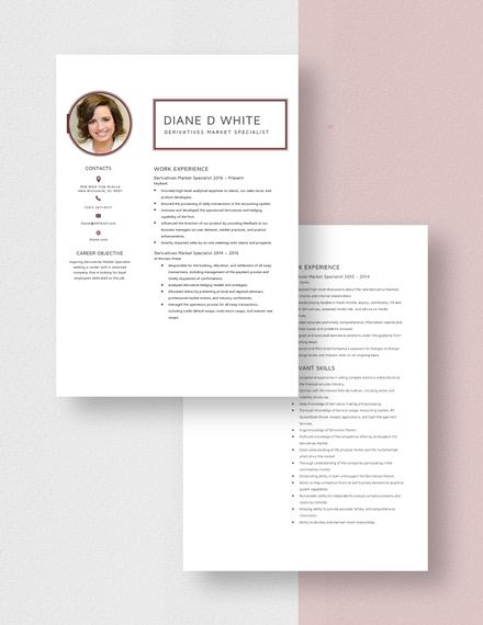 Derivatives Market Specialist Resume Download