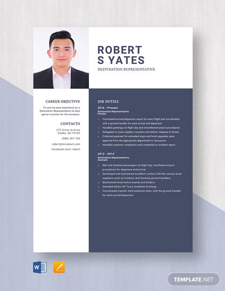 Destination Representative Resume Template