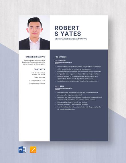 Destination Representative Resume Template