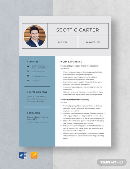 Detective Resume Template