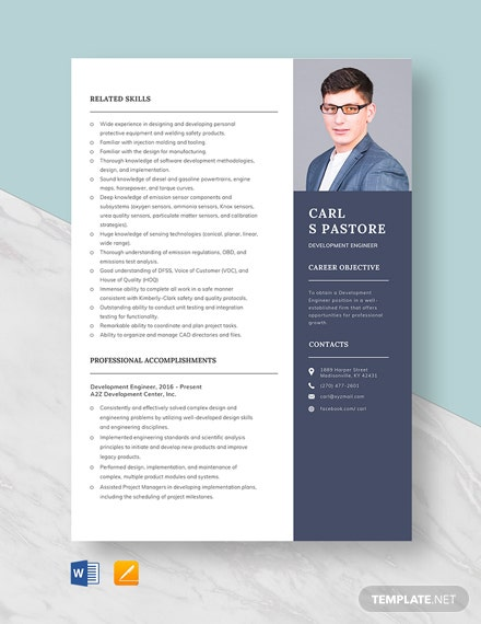 Development Engineer Resume Template