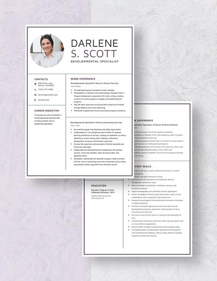 Developmental Specialist Resume Download