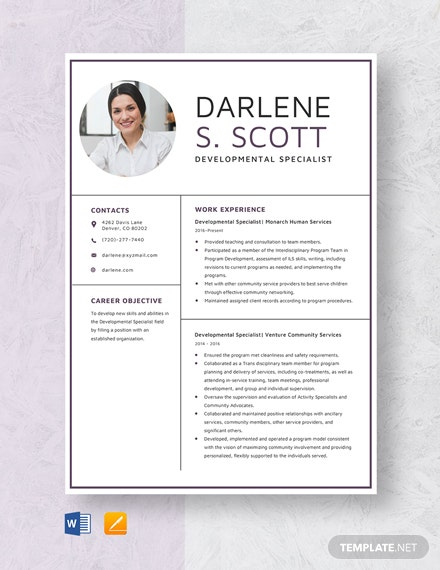 Developmental Specialist Resume Template