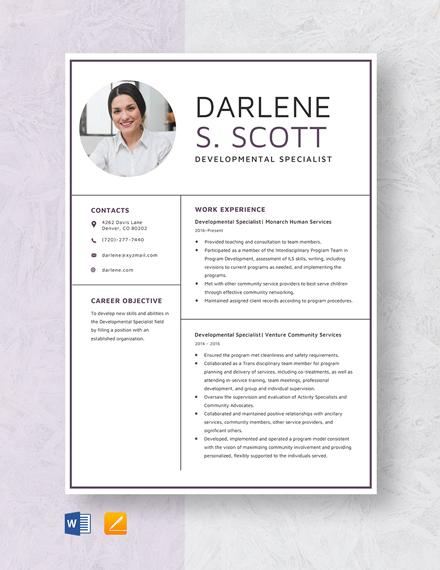 Developmental Specialist Resume Template
