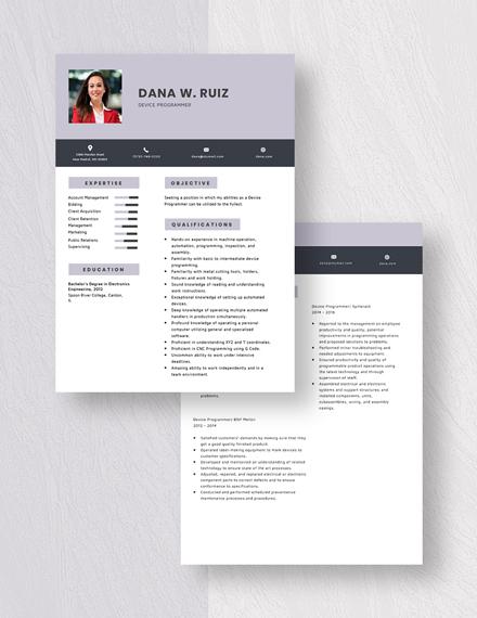 Device Programmer Resume Download