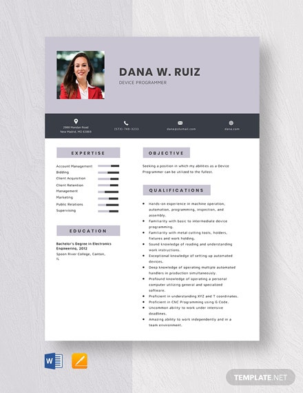 Device Programmer Resume Template