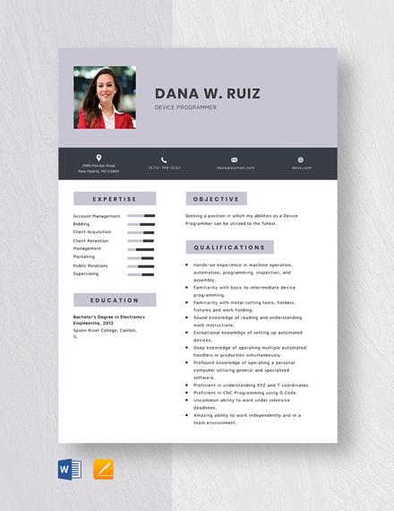 Device Programmer Resume Template