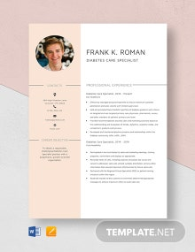 Diabetes Care Specialist Resume Template
