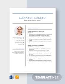 Diabetes Specialist Nurse Resume Template