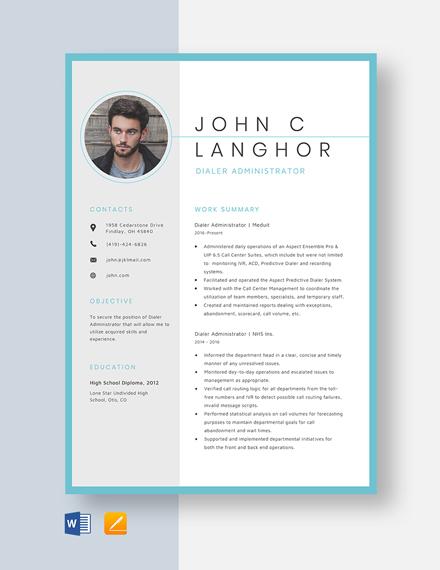 Dialer Administrator Resume Template