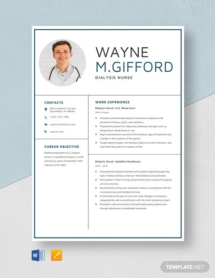 Dialysis Nurse Resume Template