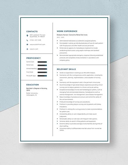 Dialysis Nurse Resume Template