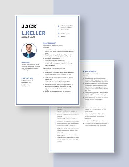 Diamond Buyer Resume Download