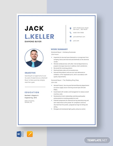 Diamond Buyer Resume Template