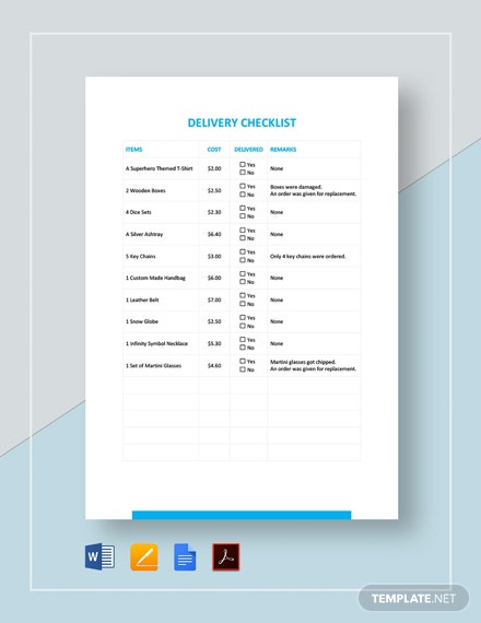 Delivery Checklist Template