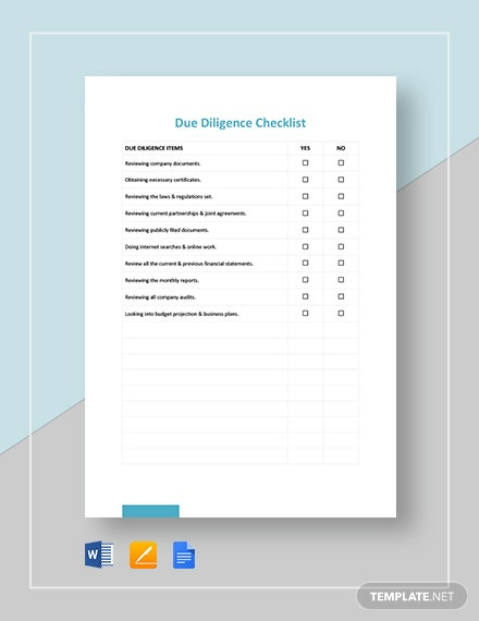 Due Diligence Checklist Template