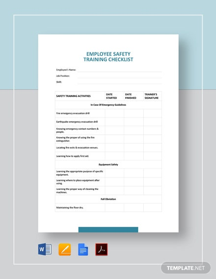Employee Safety Training Checklist Template