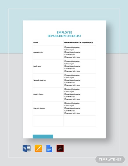 Employee Separation Checklist Template