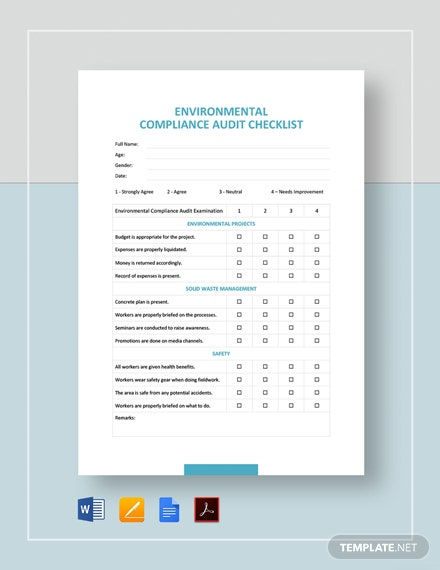 Environmental Compliance Audit Checklist Template