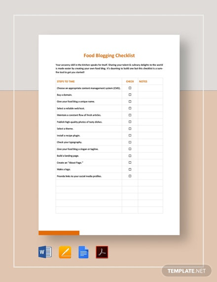 Food Blogging Checklist Template