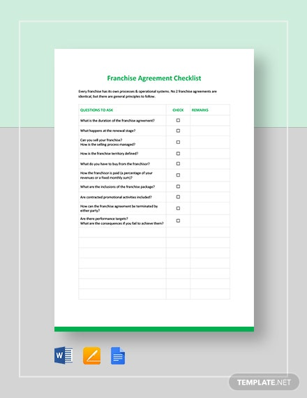 Franchise Agreement Checklist Template