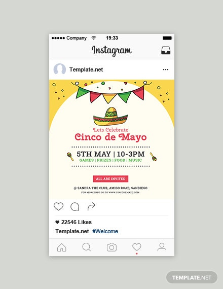 Free Cinco de Mayo Day Instagram Post Template
