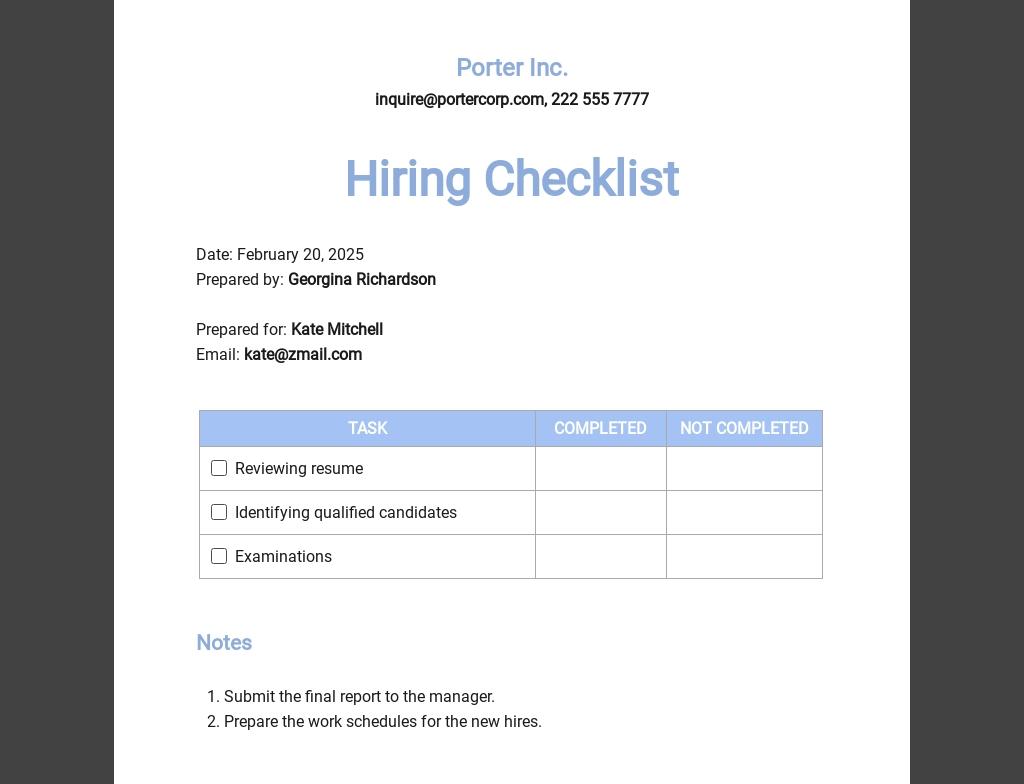 Hiring Checklist Template