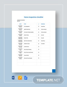 Home Inspection Checklist Form Template