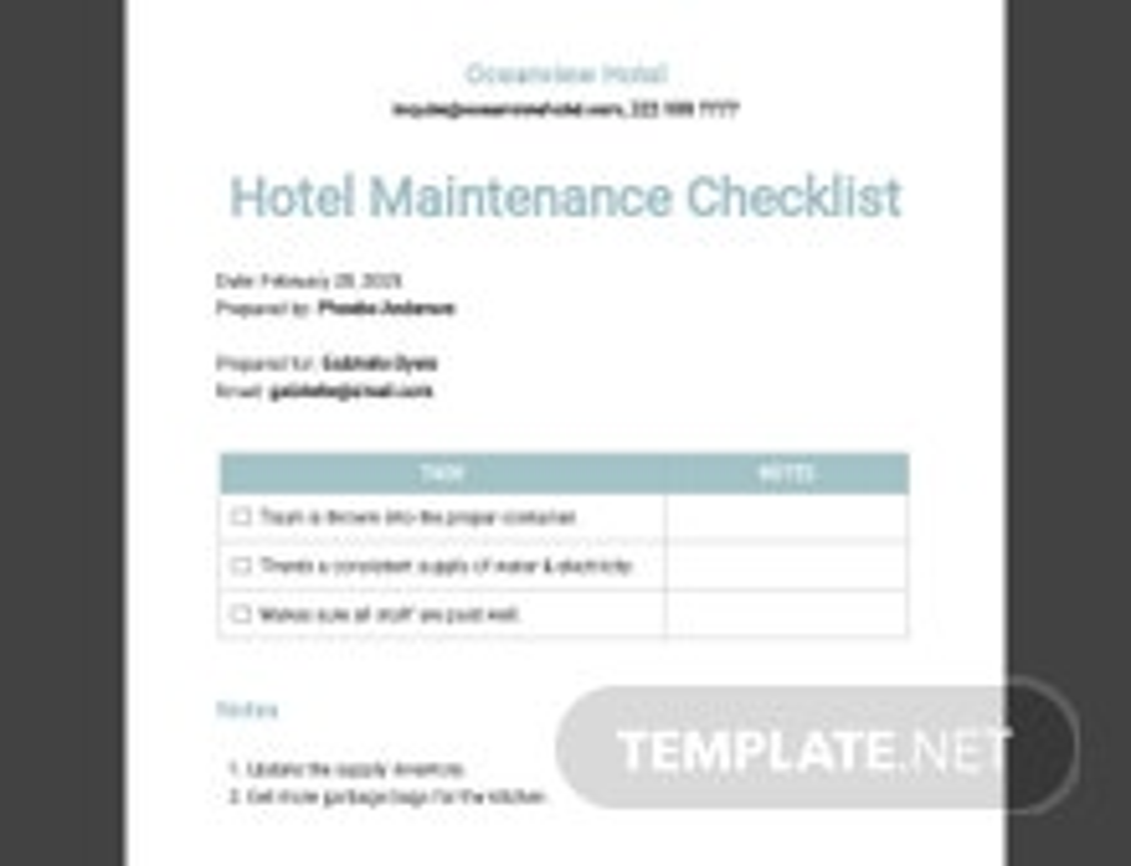 Hotel Maintenance Checklist Template
